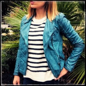 Teal faux leather jacket